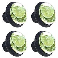 取っ手4ピースキャビネットノブドレッサーノブキッチン引き出しノブグリーンレモンスライスパターン クリスタルガラスを扱う