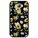 Funda Negra para [ Huawei G8 - GX8 ] diseño [ Patrón Floral, Flores Multicolores 2 ] Carcasa Silicona Flexible TPU