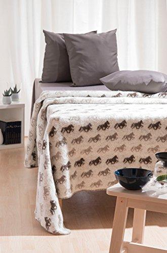 Wolldecke | Wohndecke | Tagesdecke aus Islandwolle - Beige - Islandpferde Isländer Tölter Pferde Muster Größe one size