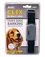 Clix No Bark Collar Small Makes a loverly gift idea The CLIX No-Bark collar is designed to stop unwanted barking . The collar features a microphone which detects barking and automatically emits either a sound or vibration to interrupt The dog's barki...