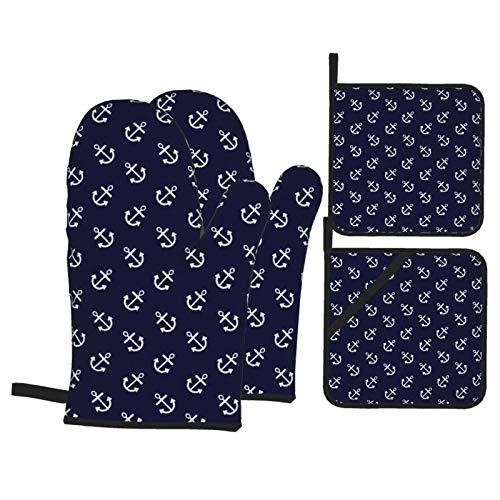 Vilico 2 Stück Ofenhandschuhe und 2 Stück Topflappen, weiße Anker, marineblaue Pappteller, rutschfeste Handschuhe und Hot Pads zum Kochen, Backen, hitzebeständig, Handschutz