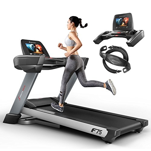 Sportstech F75 high-end Treadmill with Large Running Surface 580x600mm, Android 15,6' display, WiFi, USB, 18% gradient with damping system up to 200Kg - Sturdy & foldable