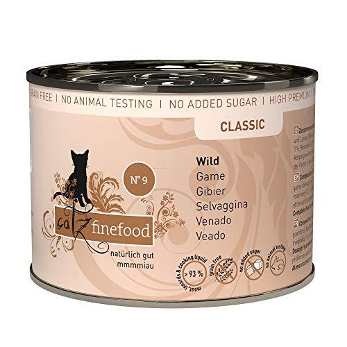 catz finefood N° 9 Wild Feinkost Katzenfutter nass, verfeinert mit Kartoffel & Preiselbeere, 6 x 200g Dosen