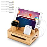 Bamboo Charging Station for Multiple Devices - Wooden Cell Phone Dock Desk Organizer for Apple - Bamboo Wood Docking Device Organizer Clean Cluttered Wires and Devices (5 USB Cables, No Power Supply)