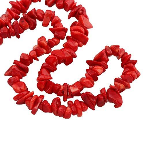 TreasureBay - Collana in corallo naturale, 84 cm, per donne e ragazze, colore: Rosso, cod. TBRPN969