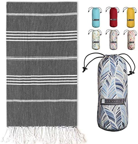 Turkish Towel with Beach Travel Bag 39 x 71 Pre Washed 100 Cotton Bath Towels Effective Absorbent product image