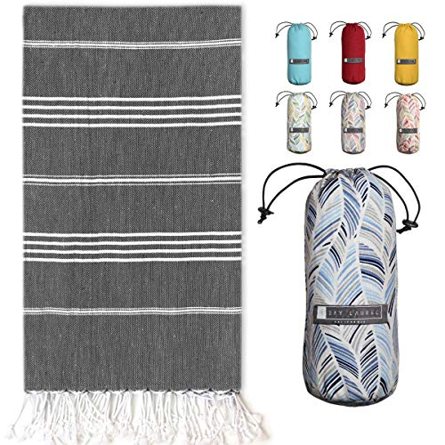 """Turkish Towel with Travel Bag (39"""" x 71"""") - Pre-washed - 100% Cotton Bath Towels - Effective, Absorbent and Quick Dry Beach Towel - Washer Safe Peshtemal Towel With No Shrinkage - Eco-Friendly"""