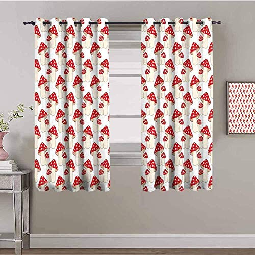 LucaSng Blackout Curtain Thermal Insulated - Kitchen art red mushroom - 63x63 inch - for Bedroom Kitchen Living Room Boy Girl Window - 3D Digital Printing Eyelet Ring Curtain