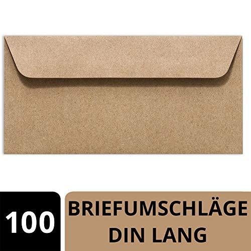Sobres de papel reciclado, DIN largo, 114 x 229 mm, color marrón natural, color marrón 100 Umschläge