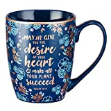 "Blue Bible Verse Mug – Floral Faith Mug for Women & Men, Ceramic Coffee Mug w/Gold Trim & Psalm 20:4 Calligraphy – ""The Desires of Your Heart"" Mug, 12 oz"
