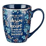 Mug bleu verset de la Bible - Mug Floral Faith pour femmes et hommes, tasse à café en céramique avec garniture dorée et psaume 20: 4 calligraphie - tasse «Les désirs de votre coeur», 12 oz
