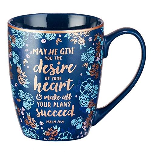 "Blue Bible Verse Mug – Floral Faith Mug for Women & Men, Ceramic Coffee Mug w/Gold Trim & Psalm 20:4 Calligraphy – ""The Desires of Your Heart"" Mug, 12 oz"