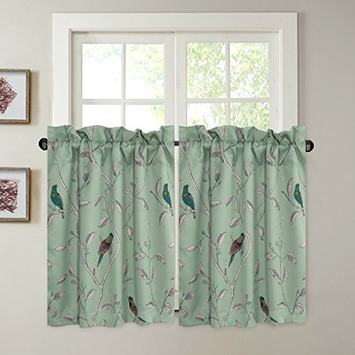 "H.VERSAILTEX Ultra Soft Textured Kitchen Curtains Birds Pattern Rustic Curtain Tiers Pair for Café/Bath/Laundry/Bedroom/Kitchen Windows Rod Pocket Small Curtains - (58"" W x 36"" L Pair)"