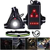Running Light Lamp, Run Light 90° Adjustable Beam LED Chest Light with Running Belt, Safety Warning Light, USB Rechargeable Waterproof, 360° Reflective Band for Night Runners Walking Camping Fishing
