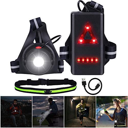 Bellaely Luz para Correr Running, Luz del Pecho Luz Led Frontal Correr con Running Cinturón, Recargables USB Impermeable de Seguridad con Luz de Advertencia para Corredores, Escalar, Acampada