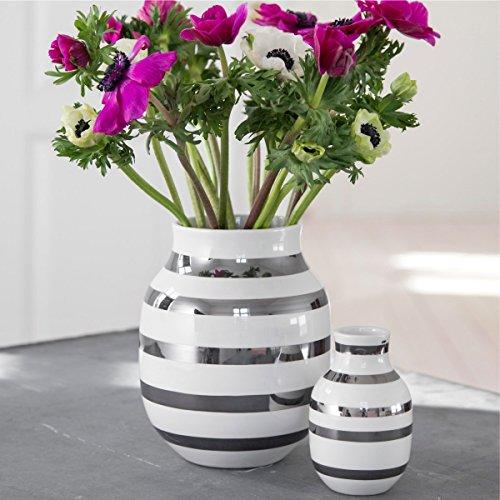 Kähler Design - Vase/Blumenvase - Omaggio - Keramik - weiß/Silber - Höhe 20 cm