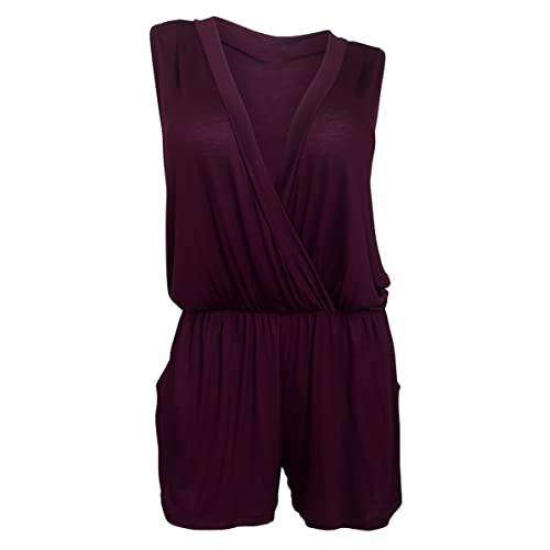 a60f511fc33 eVogues Plus Size Deep V-Neck Sleeveless Romper Made in USA