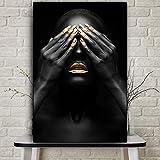 wZUN Afrikanische goldene Lippen nackte Frau Ölgemälde