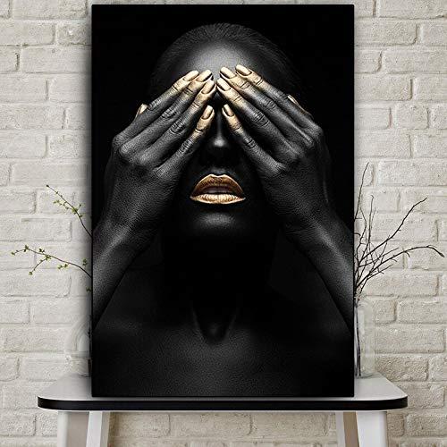 wZUN Imágenes de Pintura al óleo de Mujer Desnuda de Labios Dorados africanos en Carteles de Lienzo e Impresiones murales de Sala de Estar Africana 60X90 Sin Marco