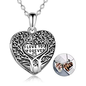 Tree of Life Locket Necklace for Women 925 Sterling Silver Personalized That Holds Pictures Locket Necklace Heart Photo Locket Pendant Necklace Jewelry Gift for Girlfriend for Women Girlfriend