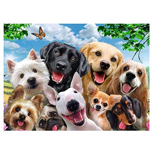 Puzzle Selfie de Perros,  1000 Piezas de Rompecabezas Color Perros Puzzles para Adulto y Niños, Juguete de Regalo de Juegos Familiares Interactivos