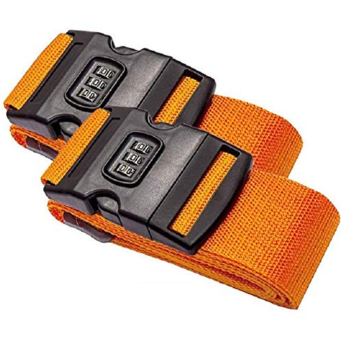 SFJRY Luggage Straps, Suitcases Packing Belts Travel Accessories Adjustable Bag Strap with Buckle Closure and Name Tag Slot 2 Pack,Orange