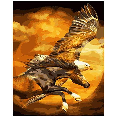 Flying Eagle and Horse Beast Adultos Puzzle 1000 Piece Wooden Jigsaw Interesantes Rompecabezas de Juguete Puzzle Adultos educativos descompresión 50x75cm