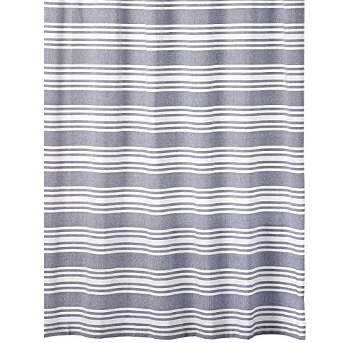 mDesign Duschvorhang aus 100% Baumwolle – gestreifte Duschgardine für Dusche und Badewanne mit 183 cm x 183 cm – langlebiges Badzubehör mit verstärkten Löchern – marineblau