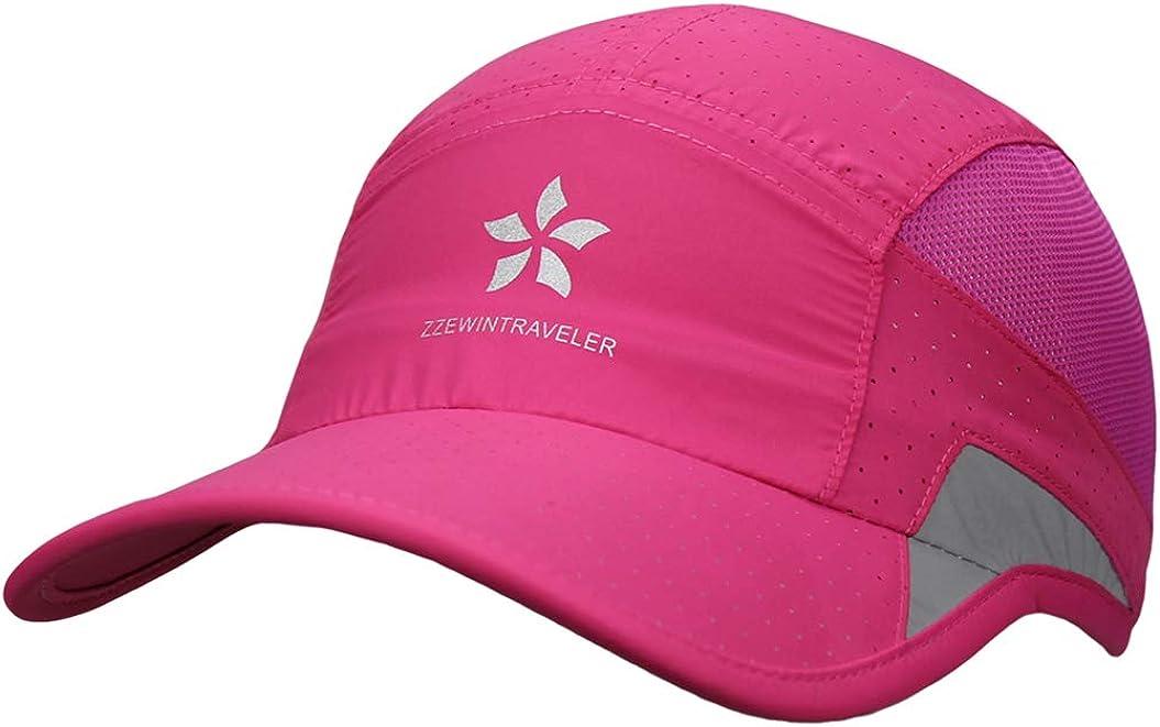 ZZEWINTRAVELER Running Cap Quick Drying Sports Hats Reflective Lightweight Breathable Unstructured Soft Baseball Cap Unisex