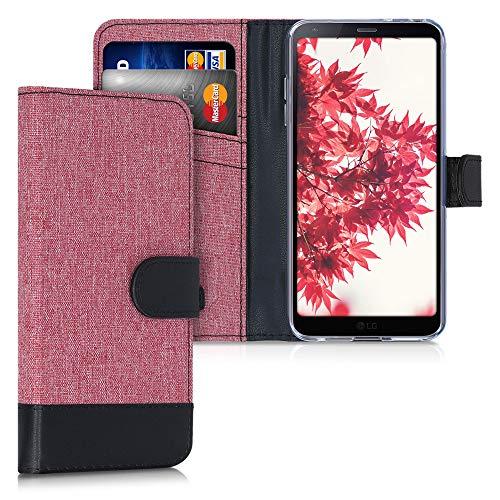 kwmobile Custodia Compatibile con LG G6 Cover Portafoglio - Case Chiusura Magnetica Portacarte Tessuto Similpelle Rosa Antico/Nero
