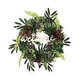 JSONA Puerta de Navidad Corona de Bienvenida Decoración Colgante Guirnalda de Cosecha Adorno de otoño Decoración al Aire Libre para la Pared del hogar Colgante Decorativo Regalo de Fiesta-con luz