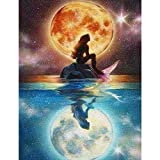 guijiumai 5d Diamante Pintura Bricolaje Set de Pintura de Diamantes de Sirena a la luz de la luna40x50cm Sin Marco