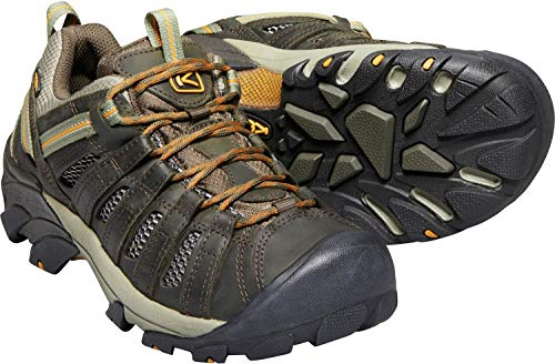 KEEN Men's Voyageur Trail Shoe,Black Olive/Inca Gold,8 M US