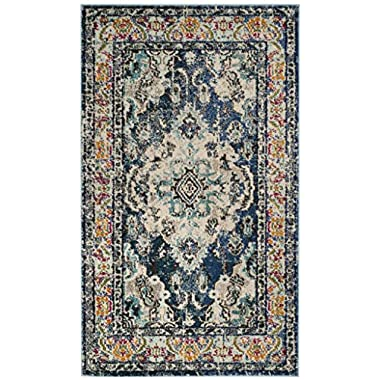 Safavieh Monaco Collection MNC243N Vintage Bohemian Navy and Light Blue Distressed Area Rug (3' x 5')