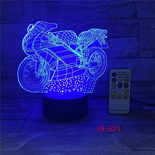 Motor 3D LED Nachtlicht Neuheit 3D Tischlampe 3D Motocross Fahrrad Form Nachtlicht LED USB 7 Farben ändern Beleuchtung 624