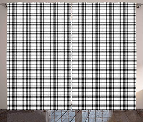 """Ambesonne Plaid Curtains, Black and White Tartan Pattern Graphic Grid Art Design with Traditional Influences, Living Room Bedroom Window Drapes 2 Panel Set, 108"""" X 96"""", Black and White"""