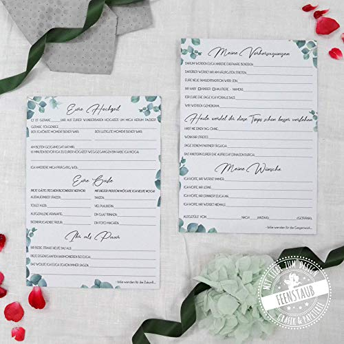 30 Zeitkapsel Karten für die Hochzeit, Fragen zum Ausfüllen & Sammeln, Wünsche und Vorhersagungen