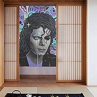 のれん 目隠し Curtain ロング 暖簾 和風のれん 86 x 143cm おしゃれ マイケル・ジャクソン 間仕切りカーテン 遮光のれん シェードカーテン つっぱりカーテン 出入り口 キッチン 飲食店 玄関のれん 飾り物 洋室 和室 部屋飾り