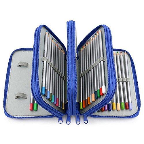 Pawaca Federmappe Schüleretui Federtasche 72 Bleistift Inhaber Bleistift-Beutel für Schule Büro Kunst (Bleistifte Sind Nicht Enthalten), Blau