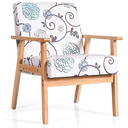 Giantex Mid Century Modern Accent Arm Chair, Comfortable Fabric Armchair w/Rubber Wood, Pretty Pattern, Soft Sponge, Decorative Retro Accent Chair for Living Room, Bedroom, Office (1, White)
