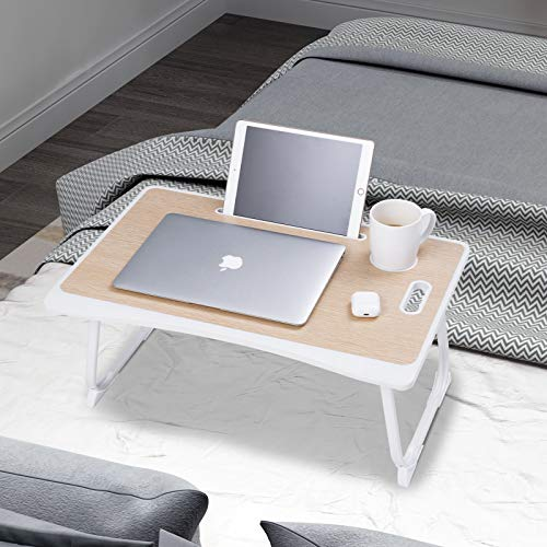 Bed Desk For Laptop,Folding Laptop Desk Bed With Book Stand,Tablet&Phone Slots,Anti-Shake Base Portable Laptop Stand Desk For Writing Reading Working On Bed Couch Sofa (40x60 cm,Beige)