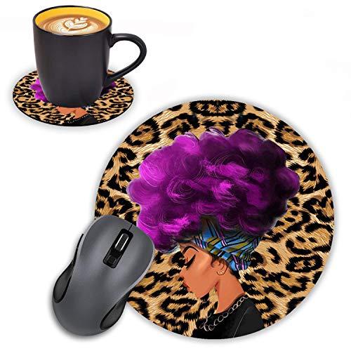 Log Zog Tapis de souris rond avec dessous de verre Motif léopard Africain Femmes avec cheveux violets Design Coiffure Tapis de souris antidérapant en caoutchouc pour ordinateur portable