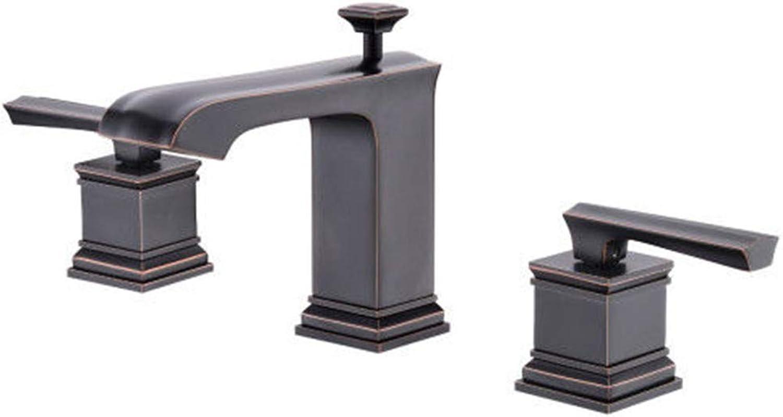 Waschtischarmatur Für Bad Antique Oil Rubbed Bronze Messing Square Doppelgriff Waschraum Waschbecken Wasserhahn, Schwarz