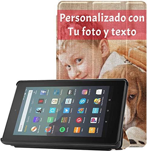 Funda Personalizada para Tableta Kindle Fire de 7 Pulgadas (9.a generación, versión 2019) Funda Inteligente de Cuero PU con activación/suspensión automática - Regalos fotográficos Personalizados
