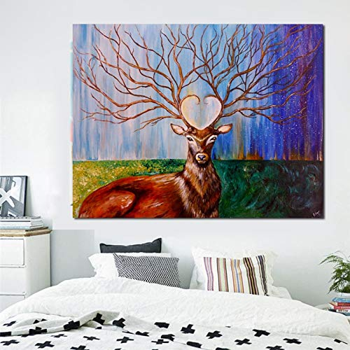 Pintura sin Marco Animal Abstracto Ciervo Paisaje