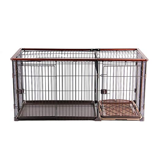 JLKDF Hundekisten Hundekäfig Zwinger mit Toilette Haustier Innenzaun Zaun Hundehaus Kiste Zwinger mit Zwei Schlafzimmern (Größe: M)