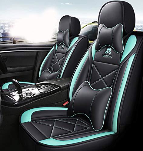 ZHANGTAOLF Juego Completo De Fundas para Asientos De Automóvil De 5 Plazas, Cojines De Asiento En Contraste con Costuras De Cuero Resistente Al Desgaste, Compatibles con Audi BMW Corolla RAV4,Verde