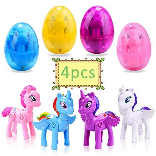 LEEHUR 4 Pack Deformation Easter Eggs with Toys Inside Unicorn Theme Party Favor for Kids Boys Girls Easter Basket Stuffers Prefilled Animals Easter Hunt Gifts Decoration