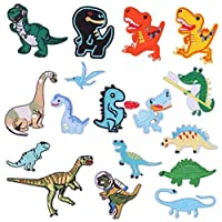 Leiasnow アイロン刺繍ワッペン 恐竜 17個 アップリケ アイロンワッペン ワッペン 刺繍ワッペン アイロンパッチ