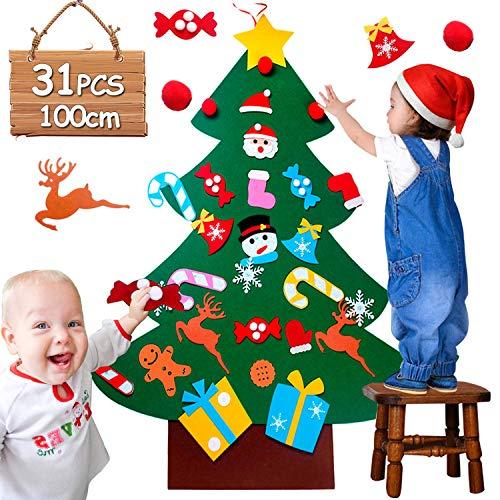 UUCOLOR 100cm Feutrine Noel DIY Decoration Noel Sapin Enfants de 31 Ornements Cadeaux De Noël pour Arbre De Noël...